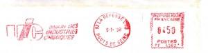 empreinte de machine à affranchir utilisée pour le courrier de l'Union des Industries Chimiques